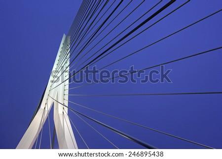 Erasmus Bridge in Rotterdam. Rotterdam, South Holland, Netherlands. - stock photo