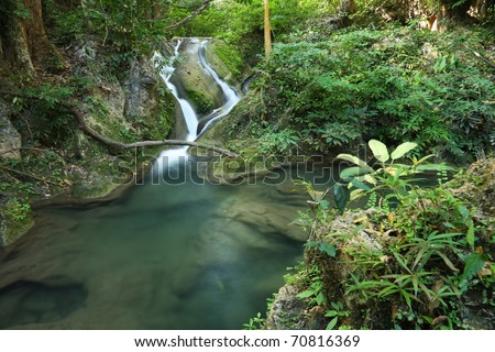 Erawan water fall, Kanchanaburi, Thailand - stock photo