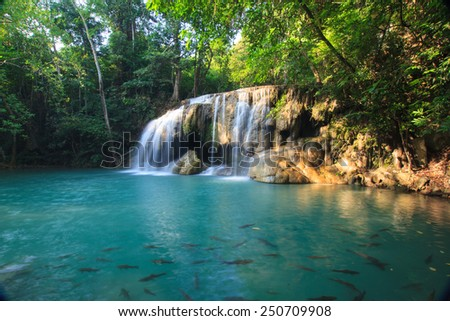 Erawan Waterfall, Deep forest waterfall at the National Park,Kranchanaburi,Thailand  - stock photo