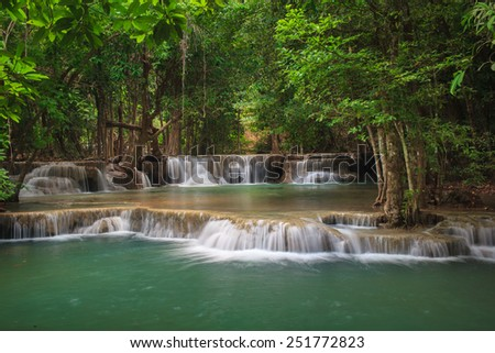 Erawan Waterfall, Deep forest waterfall at the National Park,Kranchanaburi,Thailand