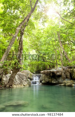 Erawan Waterfall, deep forest Waterfall in Kanchanaburi, Thailand