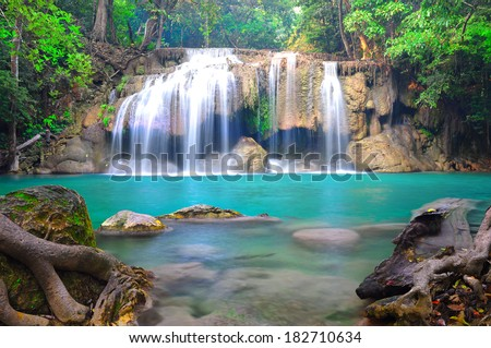 erawan waterfall in deep forest khanjanaburi - stock photo