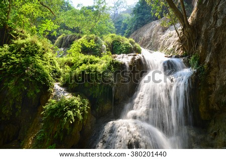 Erawan Waterfall, Kanchanaburi, Thailand, forest landscape, river with waterfall, jungle, mountain stream