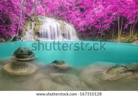 Erawan Waterfall level 2, Kanchanaburi Province, Thailand - stock photo