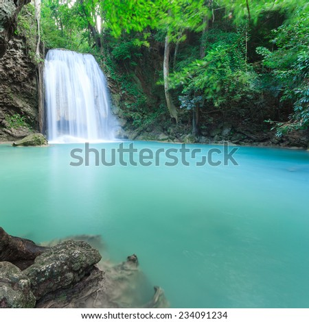 Erawan waterfall National Park Kanjanaburi Thailand  - stock photo