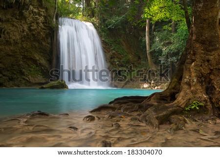 Erawan Waterfall 3rd floor, Thailand - stock photo