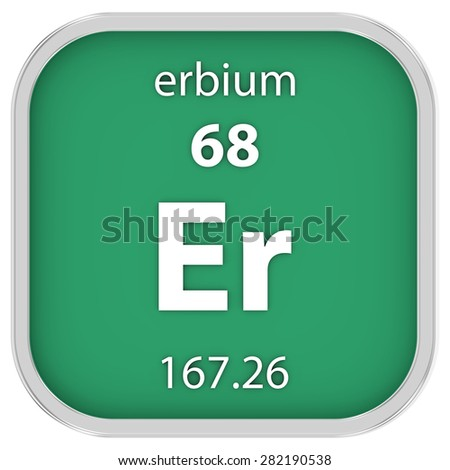 Erbium material on the periodic table. Part of a series. - stock photo