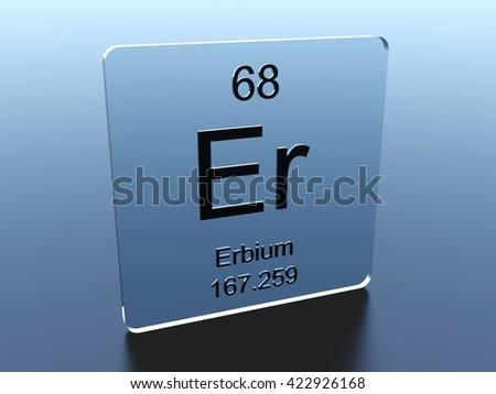 Erbium symbol on a glass square - stock photo