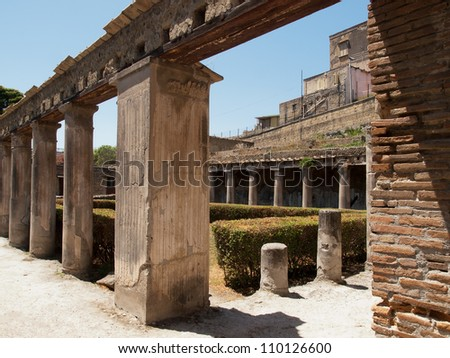Ercolano buried town in Italy - stock photo