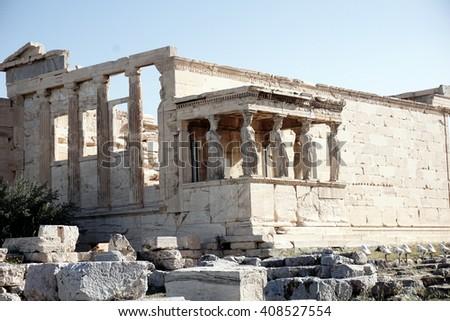 Erechteion on Acropolis, Athens, Greece - stock photo