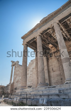 Erechteion Temple on the Acropolis in Athens, Greece