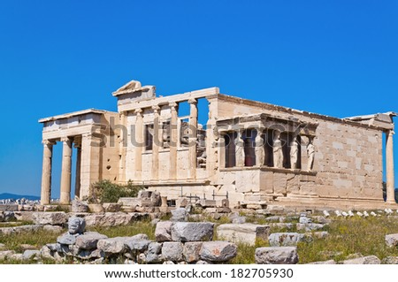 Erechtheion, ancient Greek temple on the Acropolis of Athens in Greece - stock photo