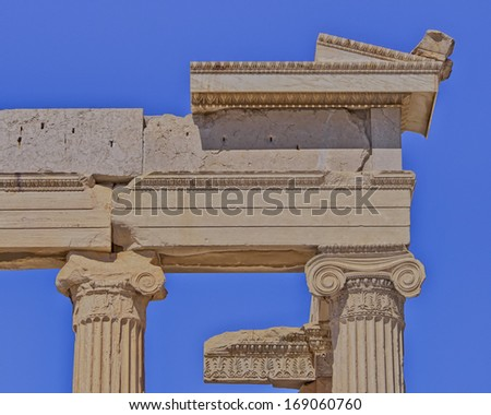 Erechtheion ancient ionian order temple detail, Athens Greece - stock photo