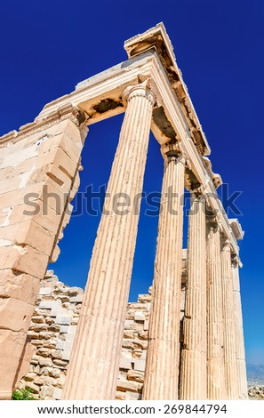 Erechtheion on Acropolis, one of the ancient greek civilization temples. Athens, Greek - stock photo