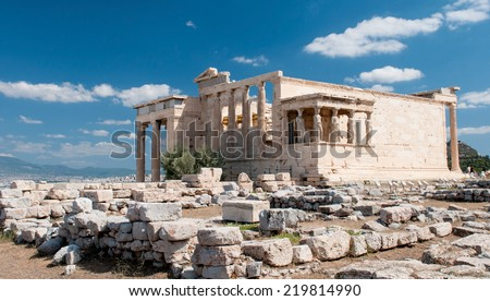 Erechtheion temple at the famous  Acropolis Hill, Athens Greece.