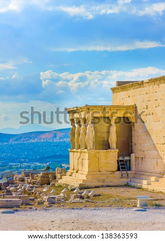 Erechtheion temple in Acropolis rock in Athens Greece