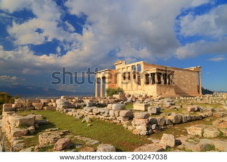 Erechtheion temple on the Athens Acropolis, Greece