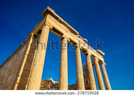 Erechtheum temple in Acropolis in Athens, Greece - stock photo