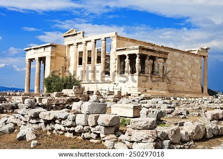 Erectheion Temple at Acropolis Parthenon, instagram Look - stock photo