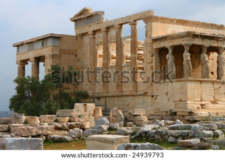 Erecthion temple on acropolis in athens - stock photo