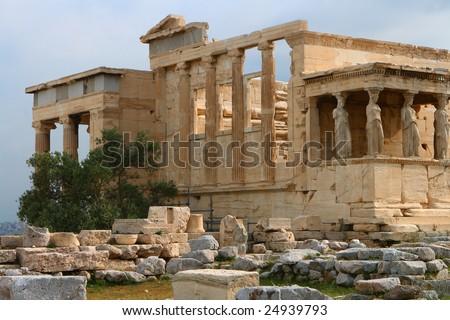 Erecthion temple on acropolis in athens - stock photo