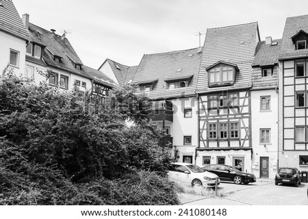 ERFURT, GERMANY  - JUN 16, 2014:  Typical different coloured houses of Erfurt, Germany. Erfurt is the Capital of Thuringia and the city was first mentioned in 742
