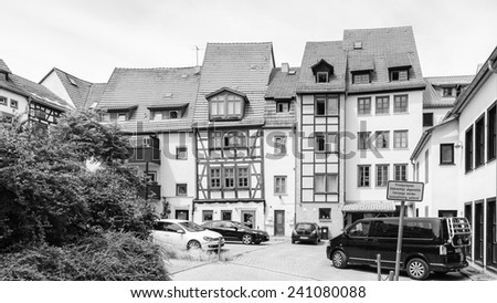 ERFURT, GERMANY  - JUN 16, 2014:  Typical different houses of Erfurt, Germany. Erfurt is the Capital of Thuringia and the city was first mentioned in 742