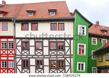 ERFURT,GERMANY-SEPTEMBER 24: Merchants' Bridge on September 24,2012 in Erfurt, Germany. Bridge was built in 1325. The only bridge north of the Alps to be built over entirely with houses;