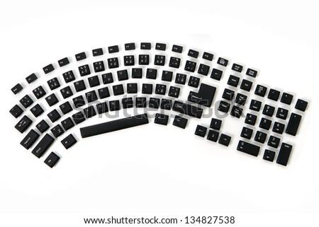 ergonomic keyboard - alphabet, numbers,  keyboard keys combined in a single image - stock photo