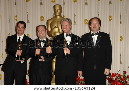 Eric Barba and Steve Preeg with Burt Dalton and Craig Barron in the Press Room at the 81st Annual Academy Awards. Kodak Theatre, Hollywood, CA. 02-22-09