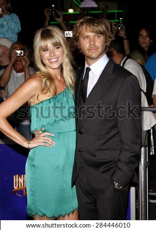 Eric Christian Olsen and Sarah Wright at the Los Angeles premiere of 'The Thing' held at the AMC Universal City Walk in Universal City on October 10, 2011.  - stock photo