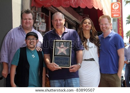 Eric Stonestreet, Rico Rodriguez, Ed O'Neill, Sofia Vergara, and Jesse Tyler Ferguson at the Ed O'Neill Hollywood Walk Of Fame Induction Ceremony, Hollywood, CA. 08-30-11 - stock photo