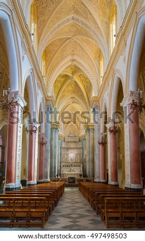 ERICE, ITALY - SEPTEMBER 12, 2015: Interior of the Erice Cathedral, province of Trapani in Sicily, Italy