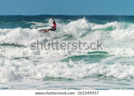 ERICEIRA, PORTUGAL - JANUARY 12, 2015: Joshua Moniz (HAW) during the 2016 World Junior Championships, Men's Junior Tour #1 at Ribeira D'Ilhas beach - Ericeira, Portugal.