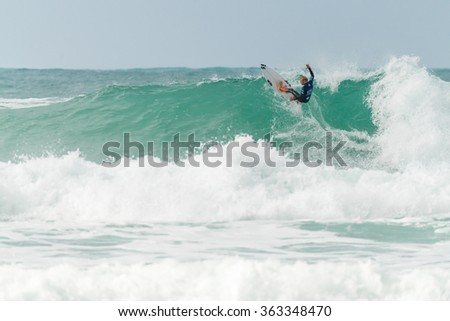 ERICEIRA, PORTUGAL - JANUARY 12, 2015: Kai Hing (AUS) during the 2016 World Junior Championships, Men's Junior Tour #1 at Ribeira D'Ilhas beach - Ericeira, Portugal.