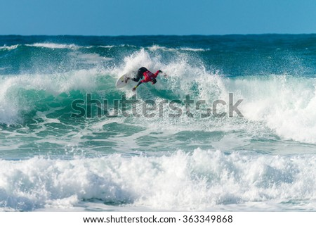ERICEIRA, PORTUGAL - JANUARY 12, 2015: Mateia Hiquily (PYF) during the 2016 World Junior Championships, Men's Junior Tour #1 at Ribeira D'Ilhas beach - Ericeira, Portugal.
