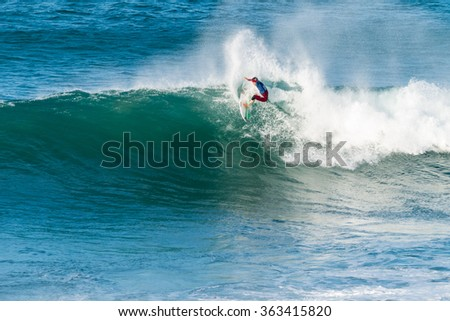 ERICEIRA, PORTUGAL - JANUARY 13, 2015: O'neill Nassin (PYF) during the 2016 World Junior Championships, Men's Junior Tour #1 at Ribeira D'Ilhas beach - Ericeira, Portugal.