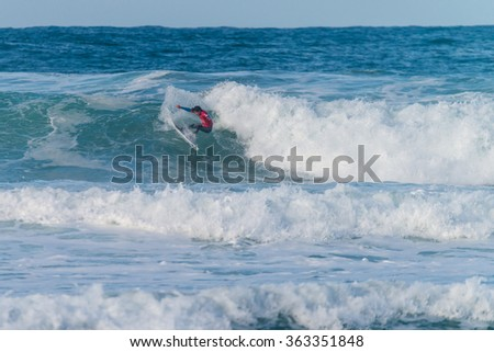 ERICEIRA, PORTUGAL - JANUARY 12, 2015: Takumi Yasui (JPN) during the 2016 World Junior Championships, Men's Junior Tour #1 at Ribeira D'Ilhas beach - Ericeira, Portugal.