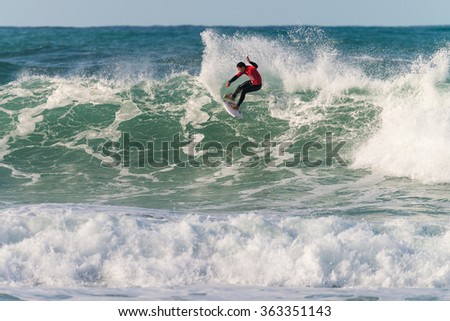 ERICEIRA, PORTUGAL - JANUARY 12, 2015: Tomas Fernandes (PRT) during the 2016 World Junior Championships, Men's Junior Tour #1 at Ribeira D'Ilhas beach - Ericeira, Portugal.