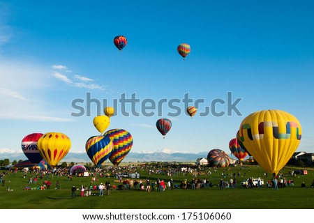 Erie, Colorado-May, 20, 2012: Annual Erie Town Fair and Balloon Festival. The balloon event is part of a day long street fair in the town of Erie. - stock photo