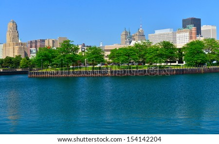 Erie Marina Basin and Buffalo skyline, Buffalo, NY, USA - stock photo