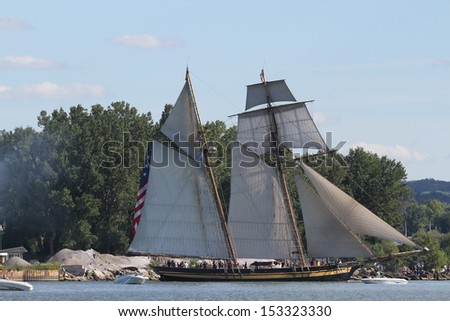 Erie, Pennsylvania, USA - September 5, 2013: The Pride of Baltimore sailing into the 2013 Tall Ships Erie Festival