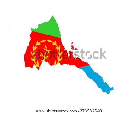 eritrea country flag map shape national symbol - stock photo