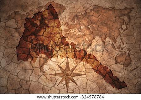 eritrea map on vintage crack paper background - stock photo