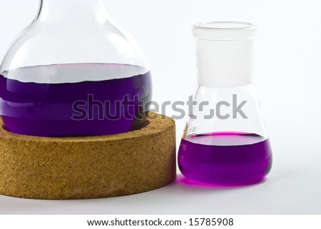 Erlenmeyer flask and round bottom flask in laboratory