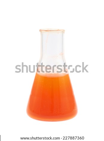 Erlenmeyer flask filled with the red colored liquid isolated over the white background - stock photo