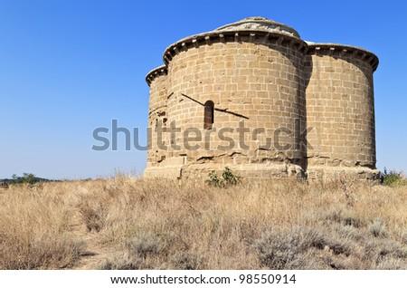 Ermita de Nuestra Senora de los Dolores, little church in Aragon near Monflorite Lascasas, Spain - stock photo