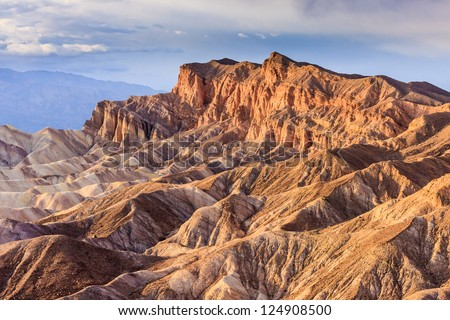 Eroded Mountain Ridges at Zabriskie Point, Death Valley National Park, California, USA - stock photo