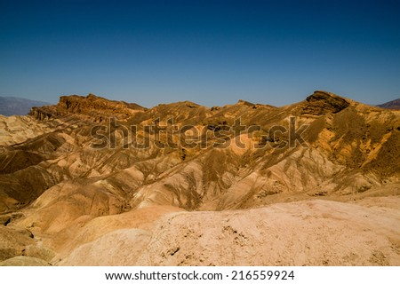 eroded ridges in death valley national park - stock photo