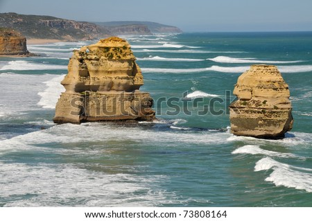 Eroded rock formations at the Twelve Apostles on the Great Ocean Road, Australia